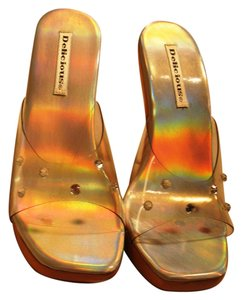 Delicious Lucite - Clear with Wood Soles Sandals
