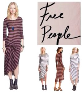 ESPRESSO COMBO Maxi Dress by Free People Midi Slit Go Lightly Stripe