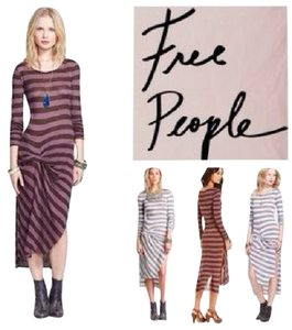 ESPRESSO COMBO Maxi Dress by Free People Side Slit Stripe Midi