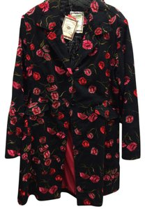 Paparazzi Embroidered Long Floral Denim Black Jacket