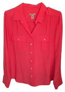 J.Crew Silk Button Down Top Coral