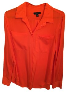 J.Crew Silk Button Down Top Orange