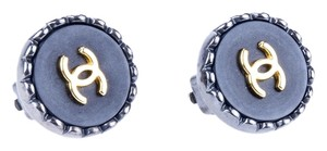 Chanel CHANEL VINTAGE BLACK ROUND CC EARRINGS