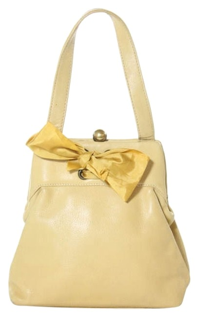 Item - Pouch Small Handbag with Bow Yellow Leather Wristlet