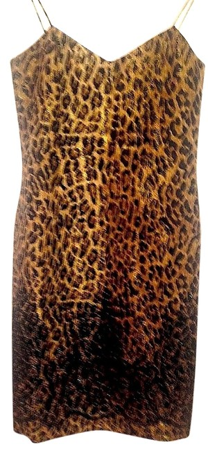 Badgley Mischka Leopard Strappy Party Dress