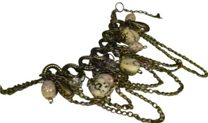 Cute Chain charm bracelet w/ turquoise stones and antiqued gold J181