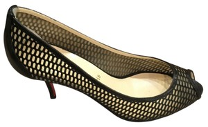 Christian Louboutin Perforated Leather Peep Toe Black Pumps