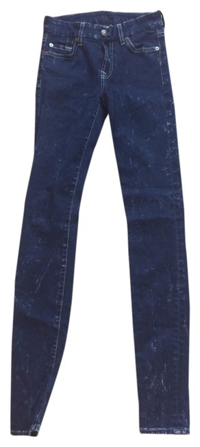 7 For All Mankind Skinny Pants Blue And White Indigo