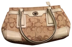 Coach Satchel in White/tan