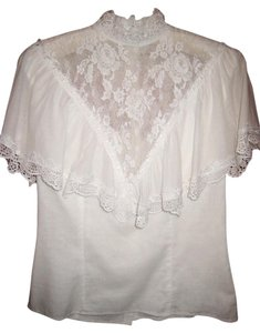 Jessica McClintock Top Vintage White Lace