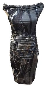 Helmut Lang Stretch Ruched Abstract Pattern Modern Dress