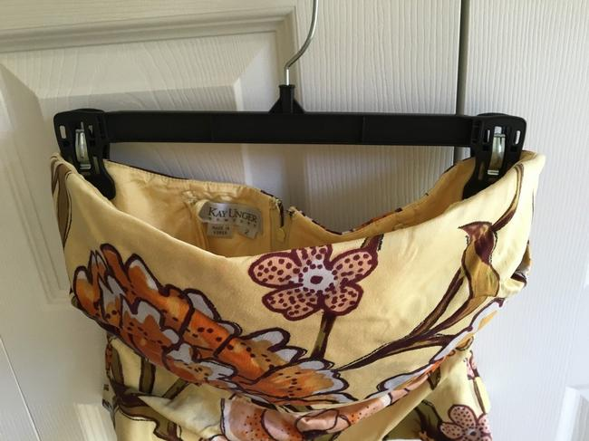 Kay Unger Strapless Corset Sexy Floral Top Yellow