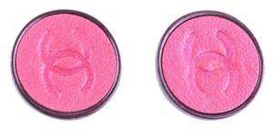 Chanel Chanel CC Logo Pink Button Earrings