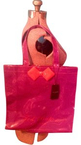 Ted Baker Bow Shopping Plastic Nwt Tote in Purple and red