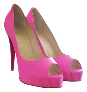 Christian Louboutin Hidden Platform Never Worn Shocking Pink Satin Crepe Pumps