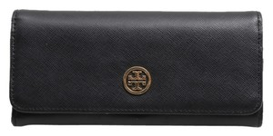 Tory Burch * Tory Burch Black Robinson Envelope Continental Wallet