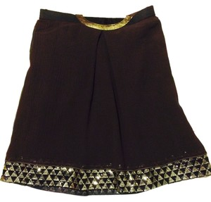 Rozae Nichols Crinkled Silk Skirt chocolate brown