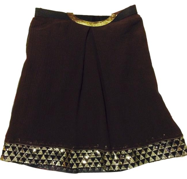 Item - Chocolate Brown Crinkled Silk Skirt Size 2 (XS, 26)