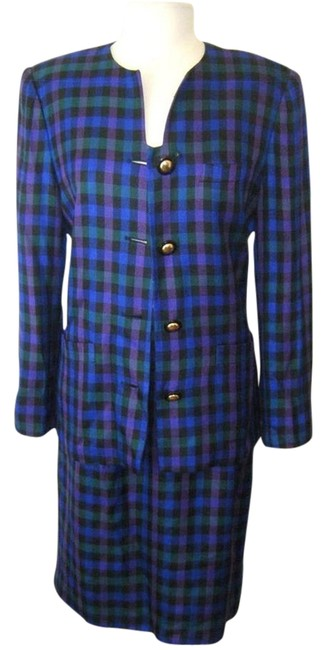 Preload https://img-static.tradesy.com/item/10559257/le-suit-plaid-blue-green-by-excellent-condition-career-lined-skirt-suit-size-10-m-0-1-650-650.jpg
