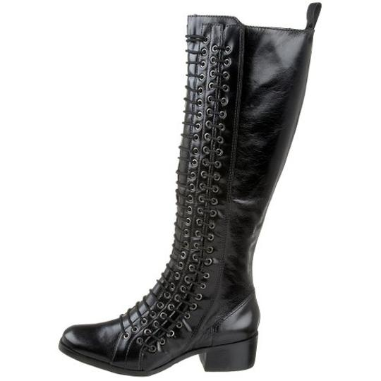 Pour La Victoire New Tall Lace-up Leather Knee High Black Boots