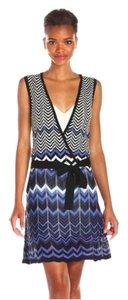 BCBGMAXAZRIA short dress black combo Chevron Drop Waist on Tradesy