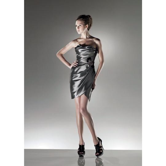 Enzoani Silver Irredescent Taffeta C15 Formal Bridesmaid/Mob Dress Size 8 (M) Image 0