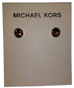 Michael Kors Michael Kors Goldtone MK Brown Smoky Crystal Earrings