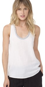 James Perse Crepe Racerback Top White with grey trim
