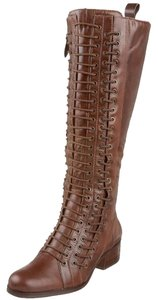 Pour La Victoire New Tall Lace-up Leather Knee High Chocolate Boots