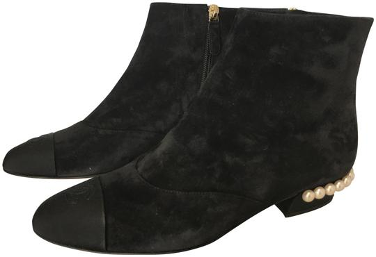 Preload https://img-static.tradesy.com/item/10559947/chanel-black-classic-suede-leather-grosgrain-silk-cc-short-pearl-temple-flat-ankle-bootsbooties-size-0-4-540-540.jpg