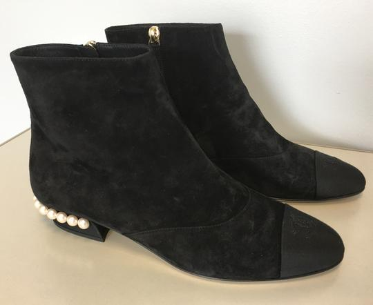 Chanel Pearl Suede Classics Black Boots Image 2