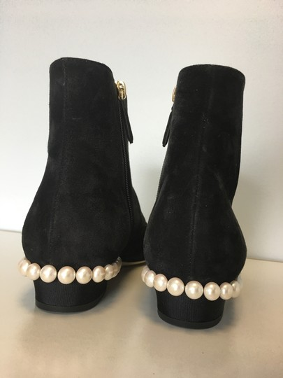 Chanel Pearl Suede Classics Black Boots Image 3
