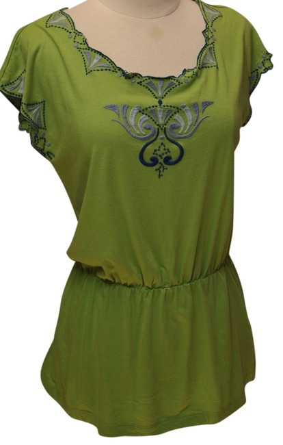 Item - Green Anthropologie Embroidered Knit Tee Shirt Size 2 (XS)