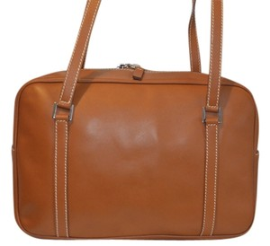 Lambertson Truex Leather Vintage Satchel in Burnt orange