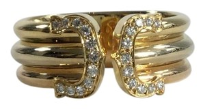 Cartier Cartier 18K Tri-Gold and Diamond Double C Motif Ring