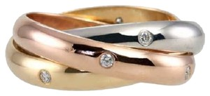 Cartier CARTIER 18K TRI-COLOR GOLD 'TRINITY' ROLLING RING with 15 DIAMONDS. SIZE 52. Made in FRANCE