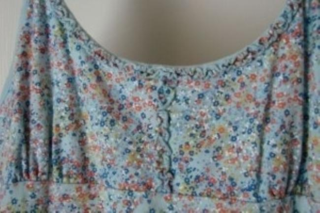 Social Occasions Top Blue w/Floral Print