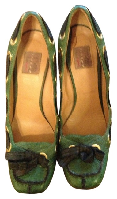Item - Green Jigsaw Leather Heels with Black Lacing and Bow Pumps Size US 10.5 Regular (M, B)