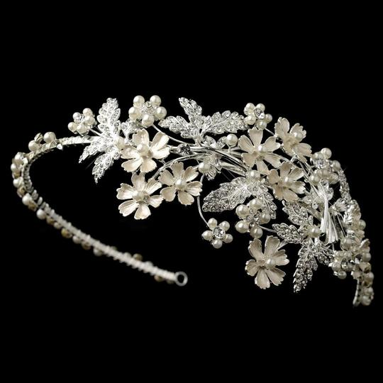 Elegance by Carbonneau Silver/Light Ivory Pearl and Rhinestone Floral Headband Hair Accessory