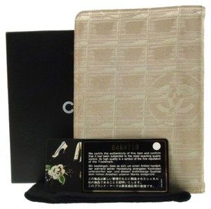 Chanel AUTH CHANEL NEW TRAVEL LINE NOTEBOOK COVER JACQUARD NYLON BEIGE FRANCE BN02749