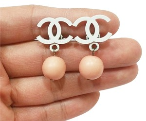 Chanel Authentic Chanel Candy CC Pink Bead Clip on Earrings