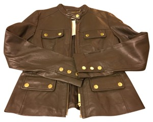 Michael Kors Olive/Brown Leather Jacket