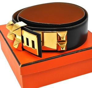 Hermès AUTHENTIC HERMES MEDORU STUDDED LEATHER BELT BUCKLE BLACK VINTAGE FRANCE B20916