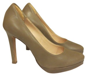 Mercanti Fiorentini Tan Leather Tan Khaki Pumps