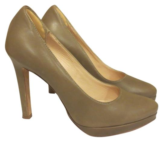 Mercanti Fiorentini Leather Tan Khaki Pumps