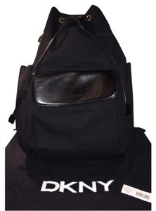 DKNY Leather Drawstring Gold Hard Zipper Backpack