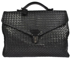 Bottega Veneta AUTH BOTTEGA VENETA INTRECCIATO BRIEFCASE HAND BAG BLACK LEATHER ITALY NR02155