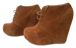 Booties Boots Wedge Chestnut Wedges