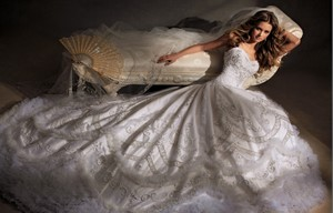 Eve Of Milady Exquisitely Beaded & Embroidered 12 Ft Veil