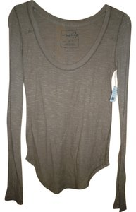 Free People 100% Cotton Long Sleeve T Shirt taupe